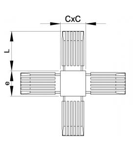 RACCORD EN CROIX POUR TUBES CARRES - RTCX